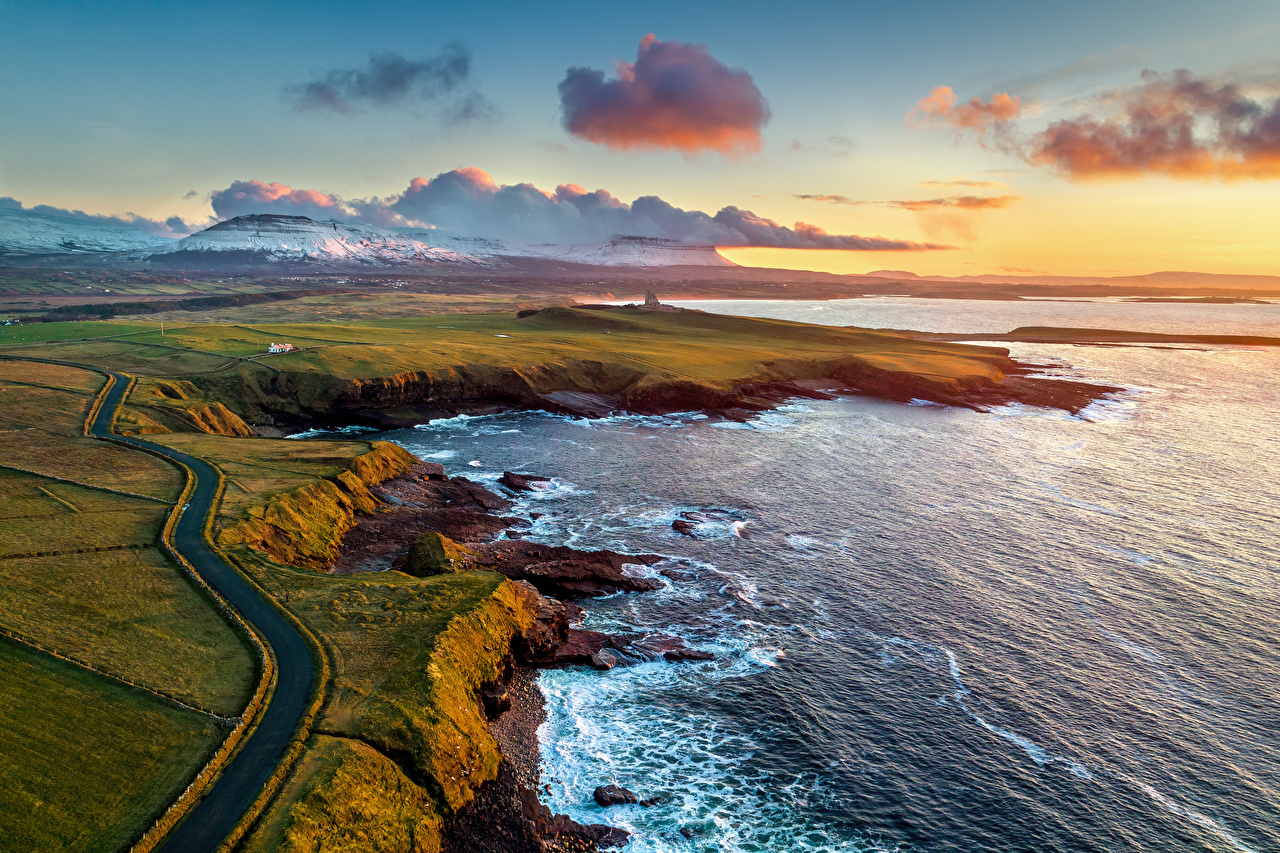 Pictures Ireland Mullaghmore Ocean Nature Mountains Roads Coast From above Clouds mountain