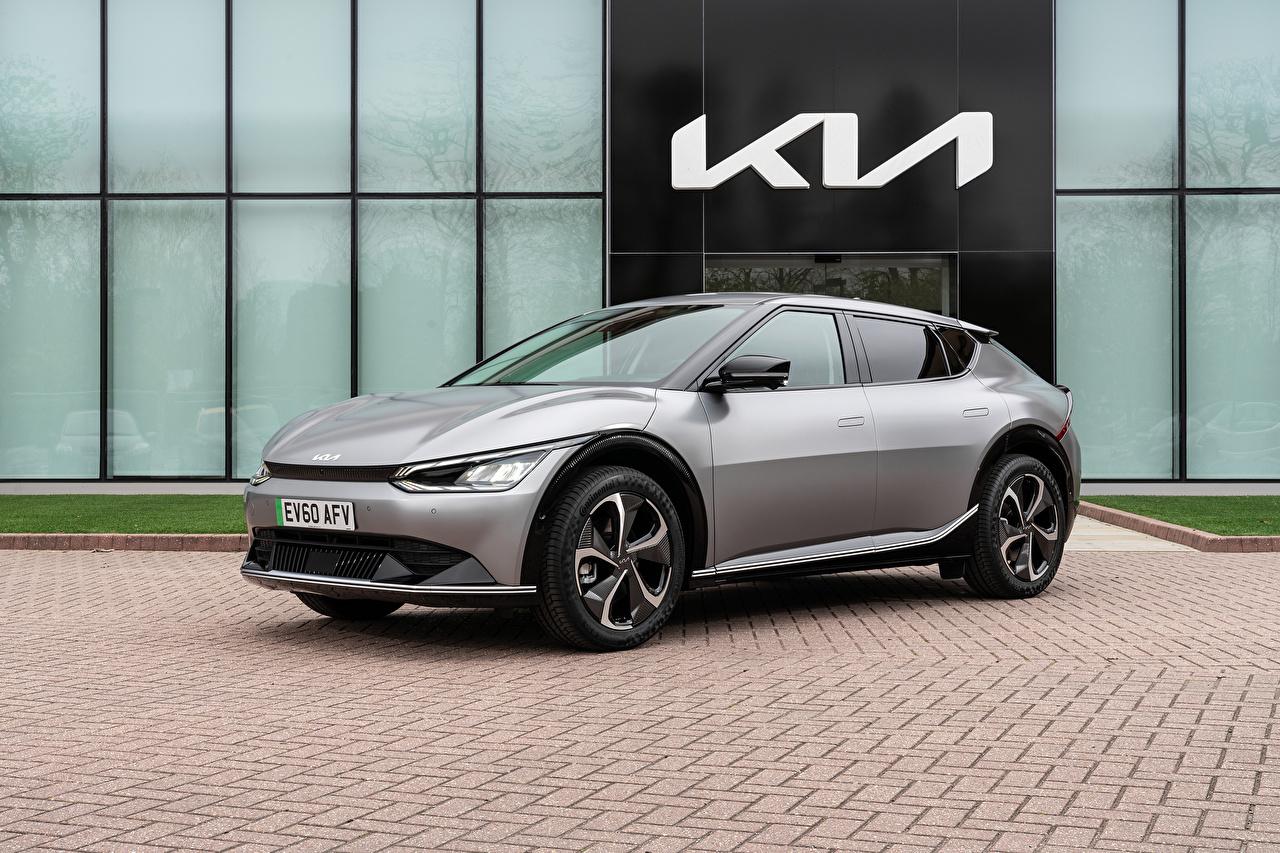 Fotos KIA EV6, (Worldwide), 2021 Grau automobil Metallisch graue graues auto Autos