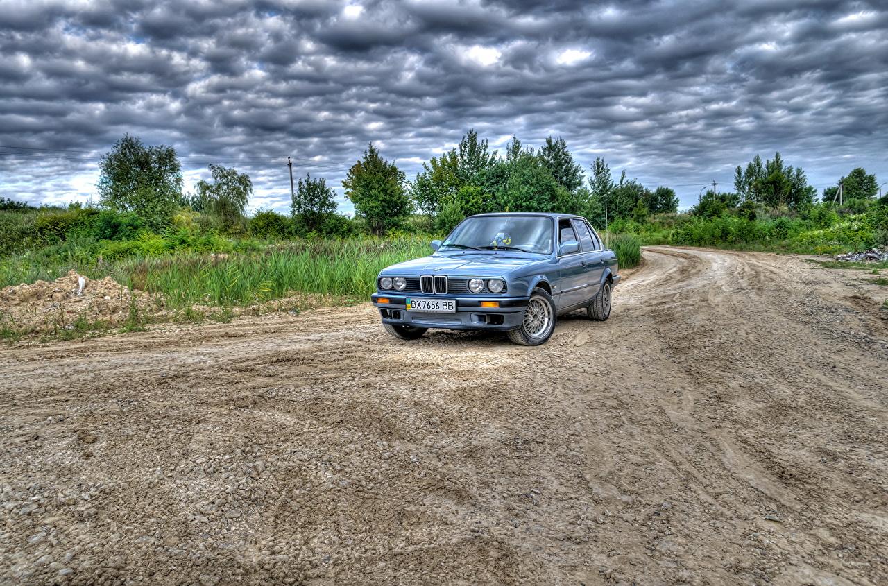 Desktop Wallpapers BMW HDR Sky Roads auto Clouds HDRI Cars automobile