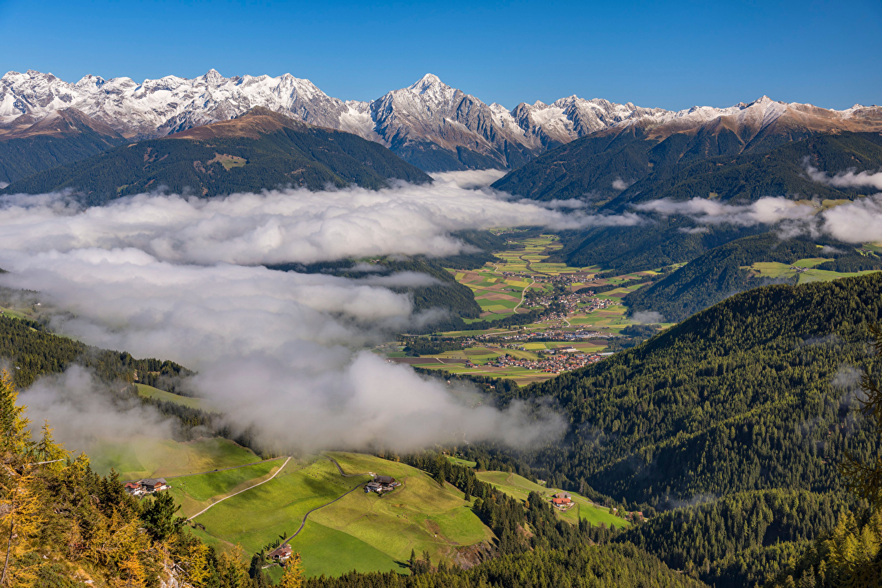 Desktop Wallpapers Alps Italy Antholz Valley Nature Mountains From above Clouds mountain