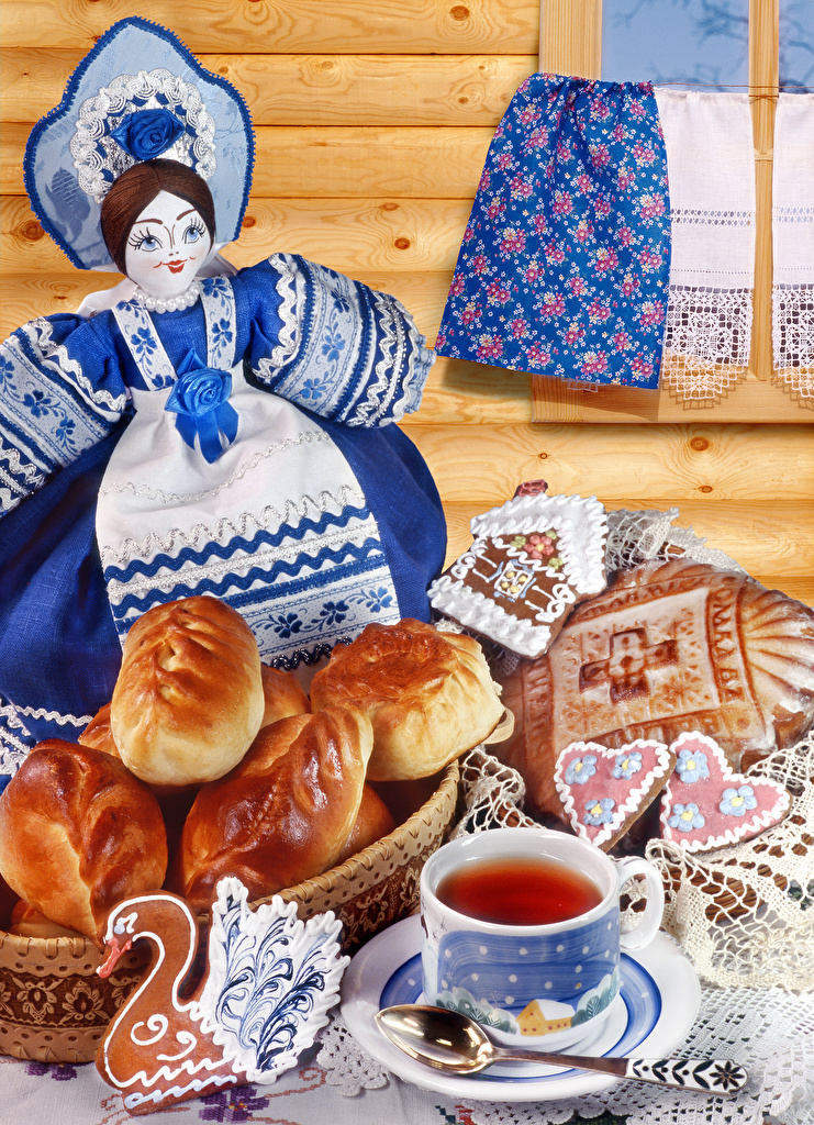 Photos Doll Tablecloth Tea Buns Cup Food Cookies  for Mobile phone