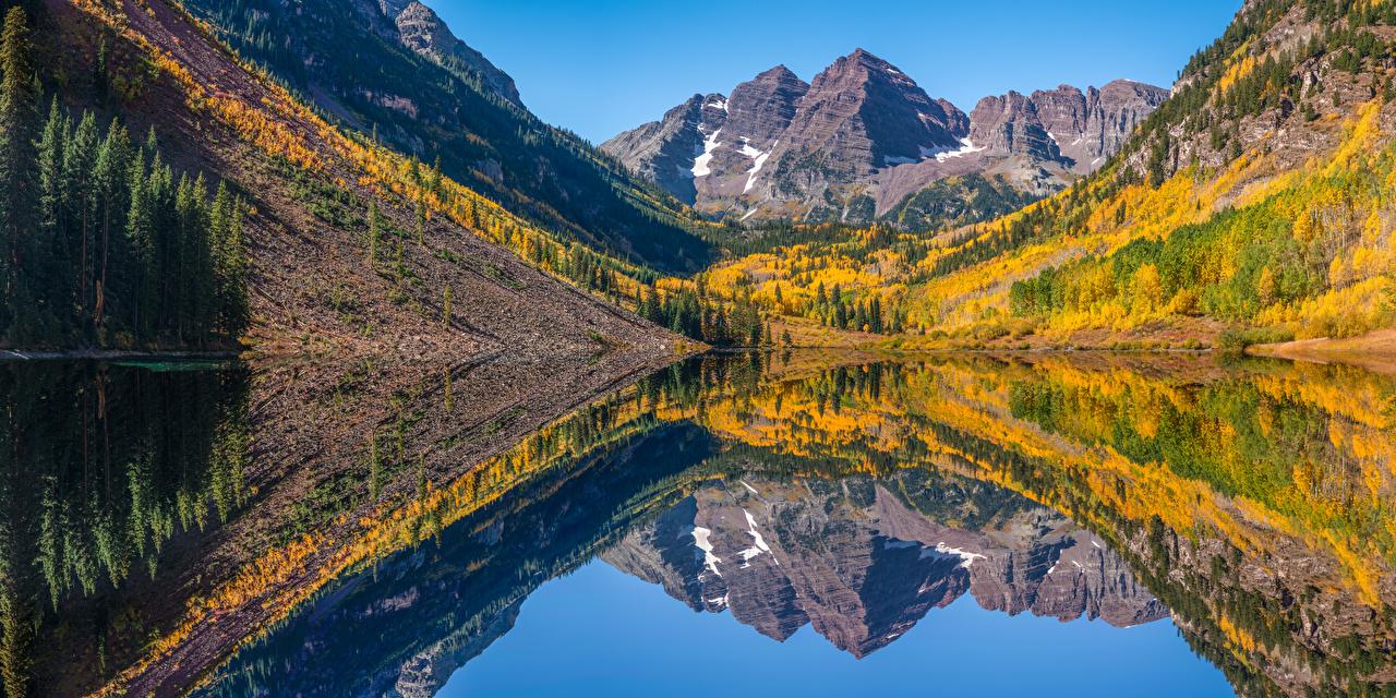 Фотография америка Панорама Maroon Bells Горы Осень Природа Озеро отражается США штаты панорамная гора осенние отражении Отражение