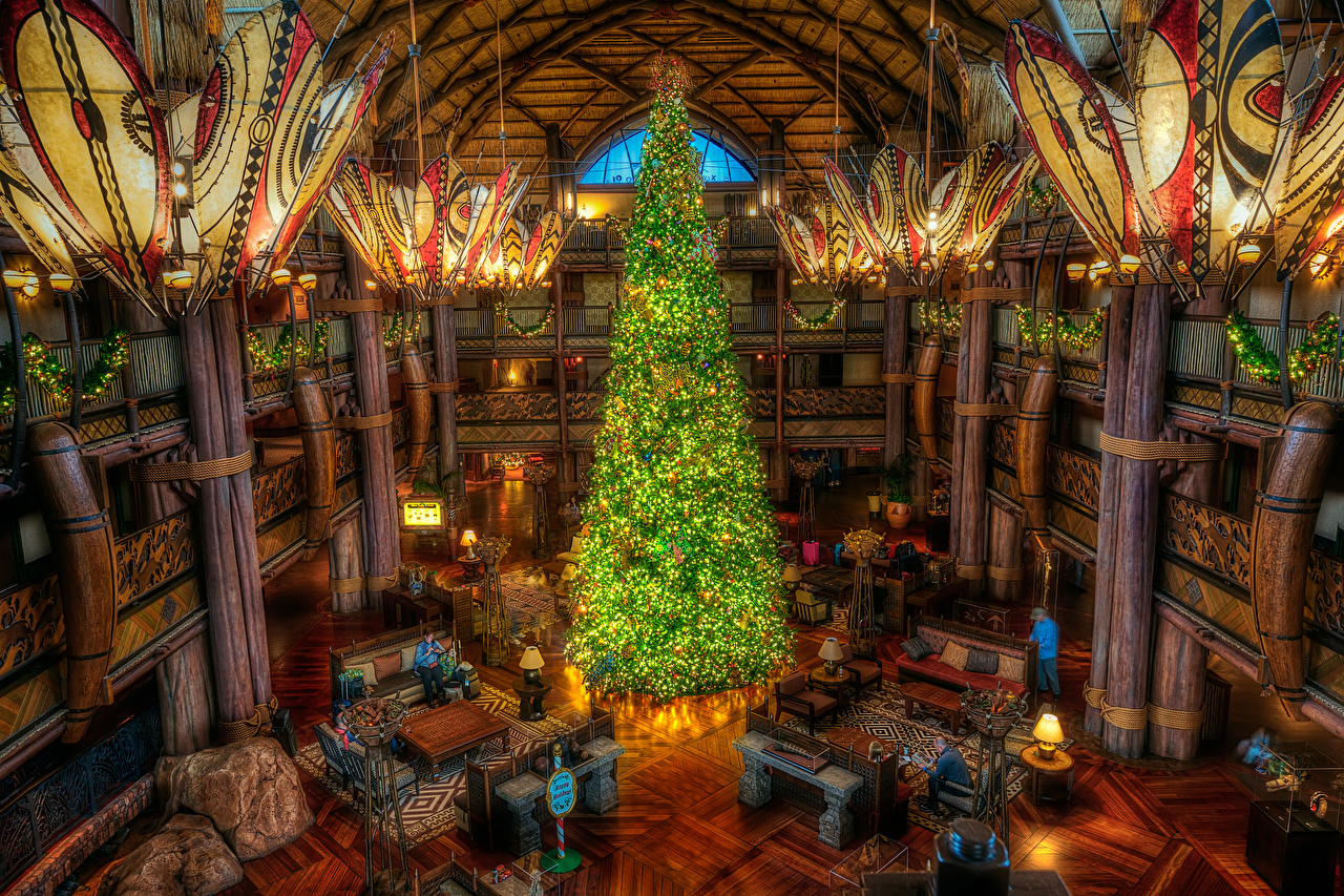 Pictures California Disneyland USA Christmas HDR New Year tree park Interior Chandelier Fairy lights New year HDRI Christmas tree Parks