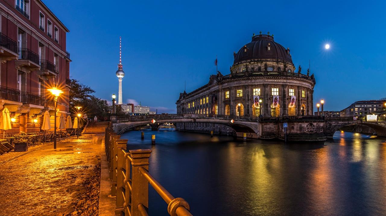 Foto Berlin Deutschland Brücken Abend Flusse Städte Brücke Fluss