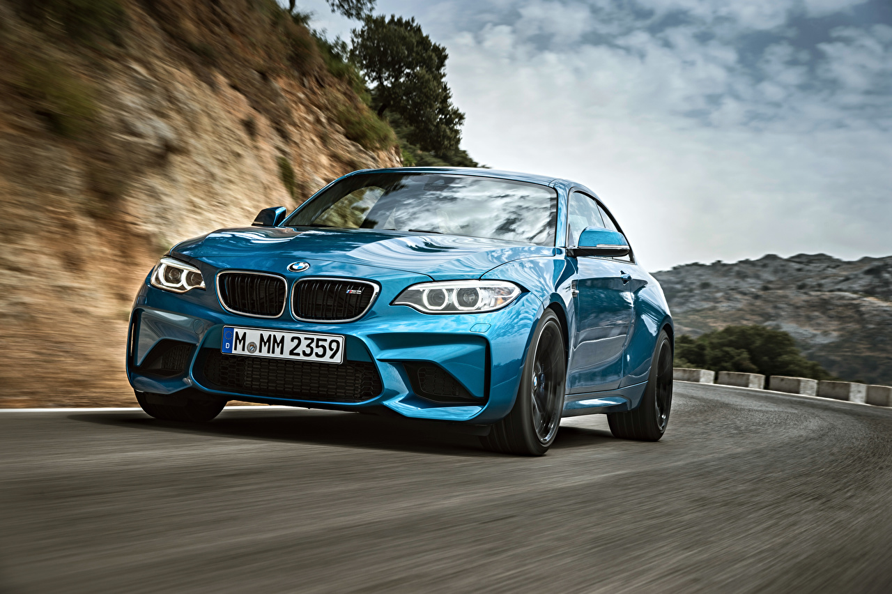 Wallpaper BMW M2 2019-2020 Coupe Light Blue Roads moving automobile Motion riding driving at speed auto Cars
