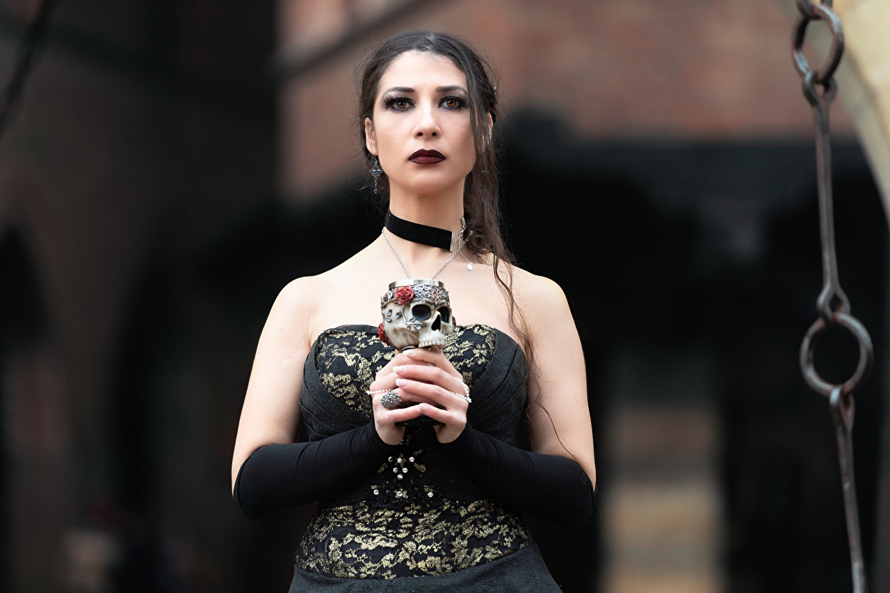 Image Skulls Gothic Fantasy Brunette girl Makeup blurred background young woman Hands Staring Dress Bokeh Girls female Glance gown frock
