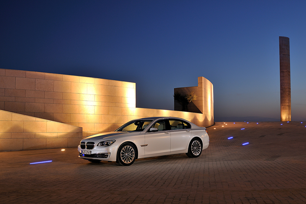 Desktop Wallpapers BMW 2012 750d F01 White Cars Night auto night time automobile