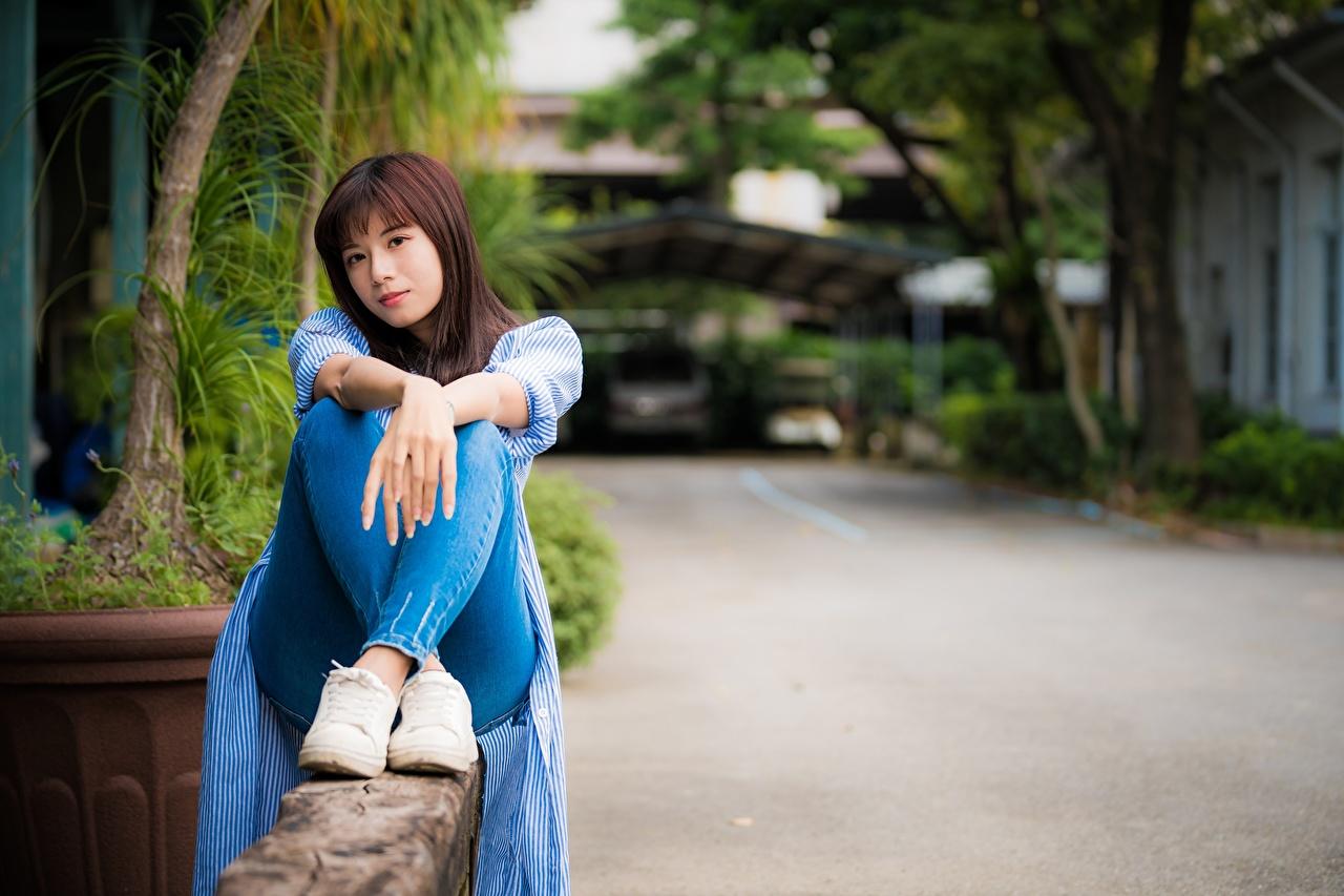 Bilder von Braunhaarige Bokeh junge frau Bein Asiatische Hand Sitzend Braune Haare unscharfer Hintergrund Mädchens junge Frauen Asiaten asiatisches sitzt sitzen
