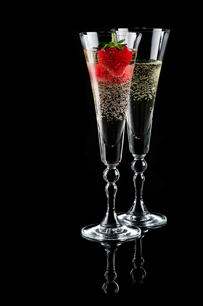 Image 2 Sparkling wine Strawberry Food Stemware Black background  for Mobile phone Two Champagne