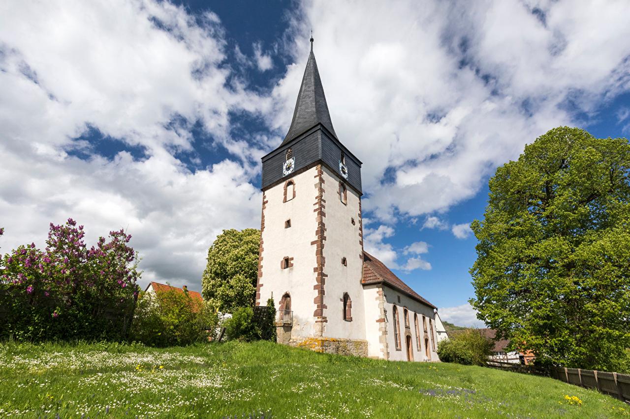 Desktop Wallpapers Church Germany Tower Hessen Sky Clouds Cities towers
