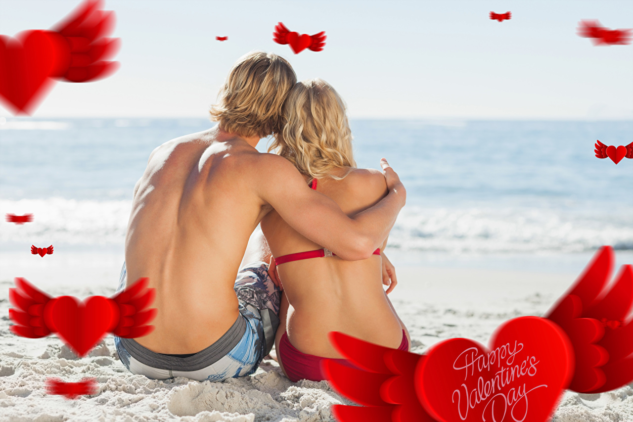 Desktop Wallpapers Valentine's Day Men Human back Two Love female Sitting Man 2 Girls young woman sit