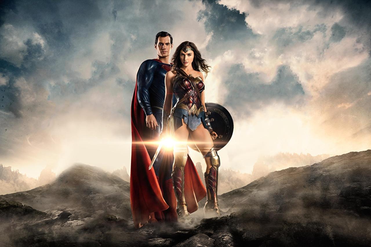 Skrivebordsbakgrunn Justice League 2017 Gal Gadot Henry Cavill Supermann helten Wonder Woman helten To 2 ung kvinne Film Kjendiser Unge kvinner