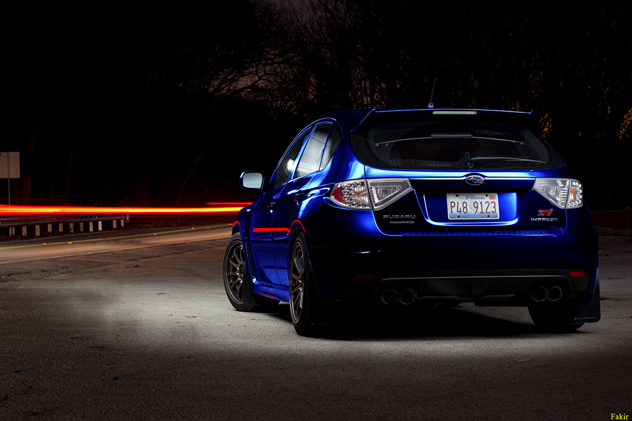 Picture Subaru Blue Cars Night Back view Headlights auto night time automobile