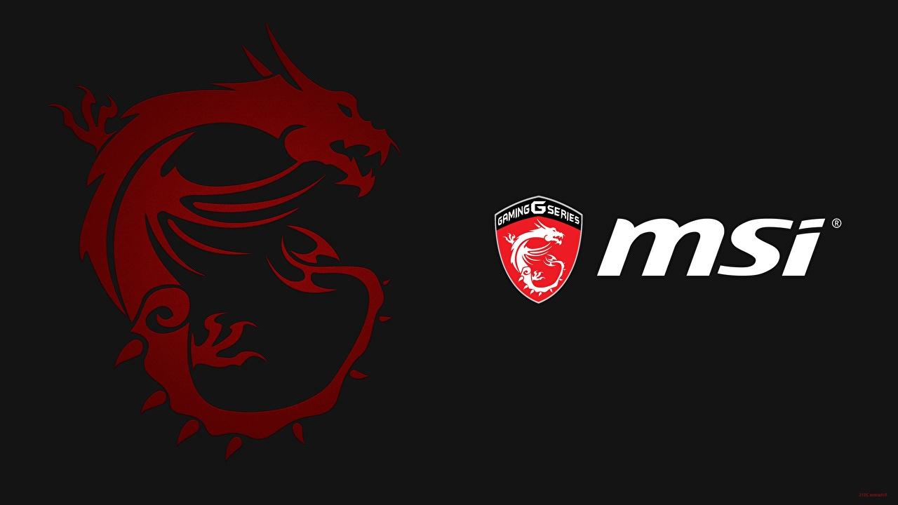 Wallpaper Dragon Logo Emblem Msi Computers Black Background