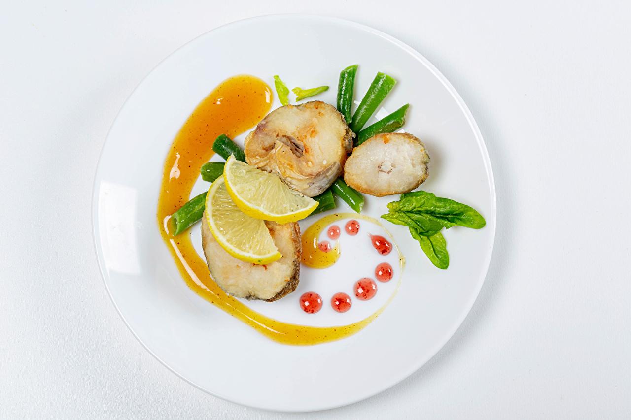 Photos Lemons Fish - Food Food Plate Vegetables White background Design
