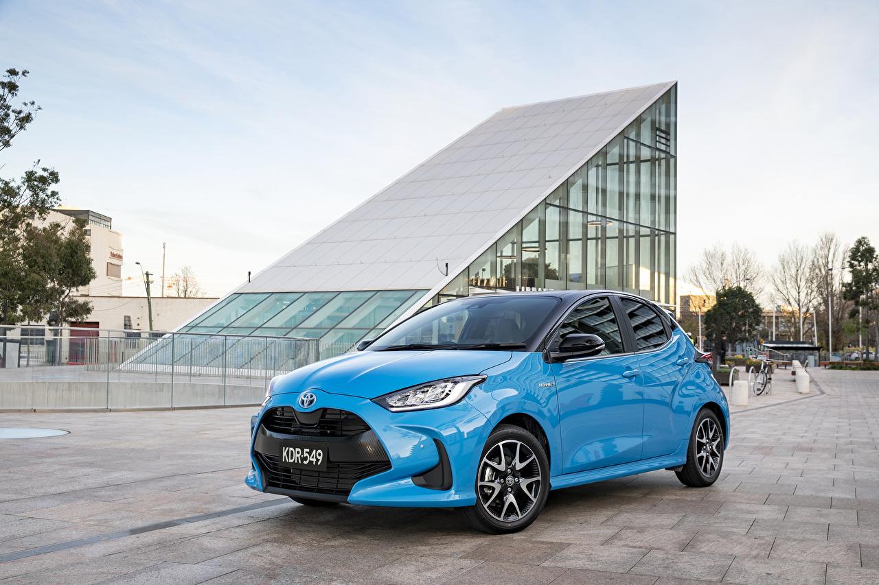 Fotos Toyota Yaris ZR Hybrid, AU-spec, 2020 Hellblau Autos Metallisch auto automobil