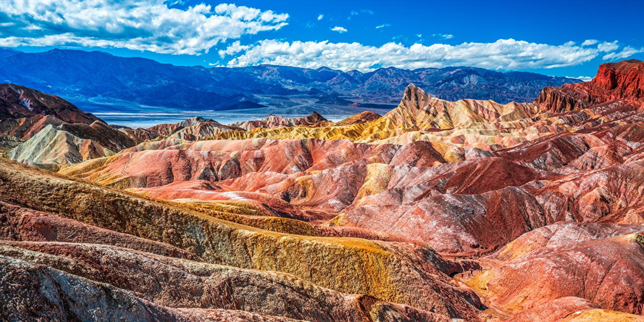 Bilder Kalifornien Vereinigte Staaten Panorama Death Valley National Park Berg Natur Felsen Parks Landschaftsfotografie Wolke USA Panoramafotografie Gebirge