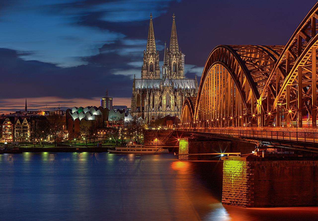 壁紙 橋 川 ドイツ ケルン 夜 都市 ダウンロード 写真