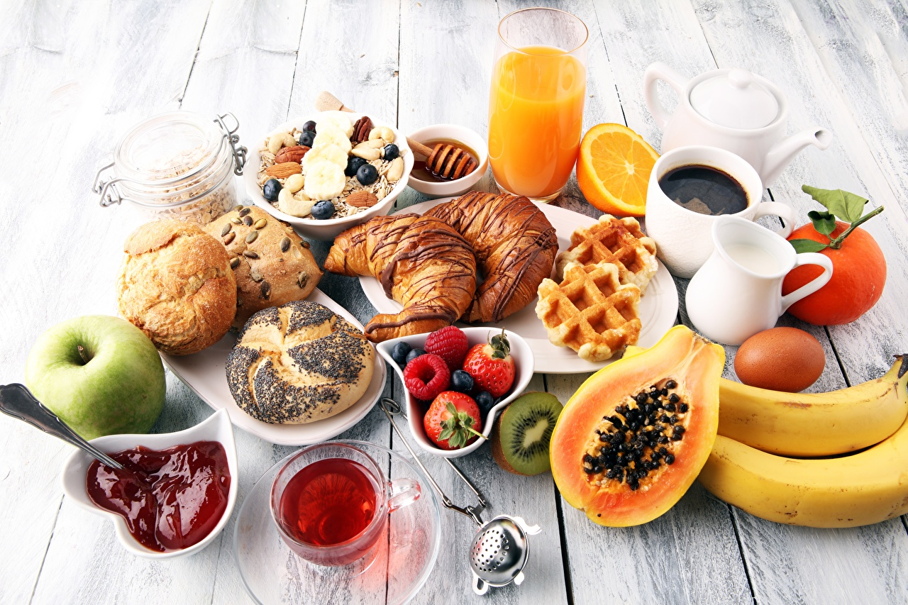 Desktop Wallpapers Juice Varenye Breakfast Croissant Buns Strawberry Food Muesli Nuts Jam Fruit preserves
