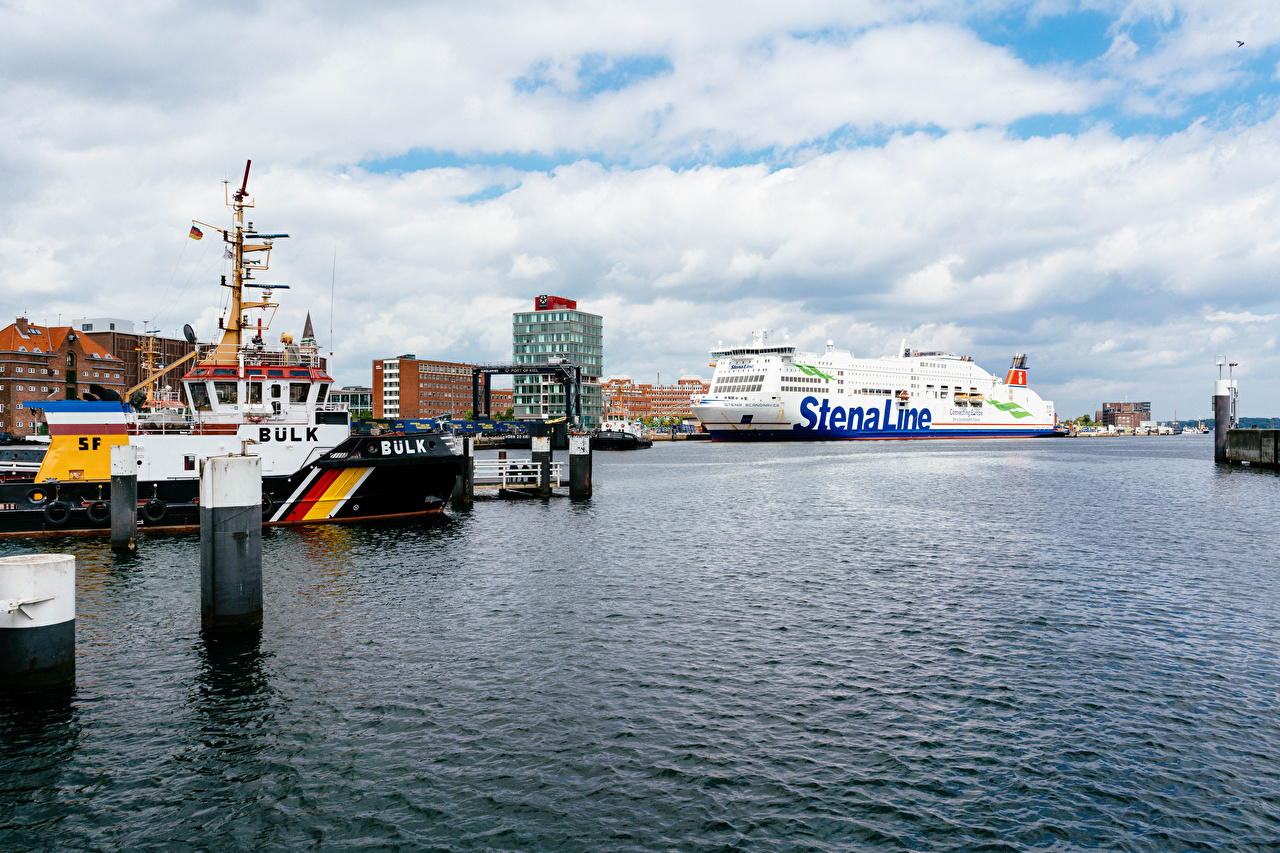 Wallpaper Germany Cruise liner Kiel port Ships Bay Marinas Houses Cities ship Pier Berth Building