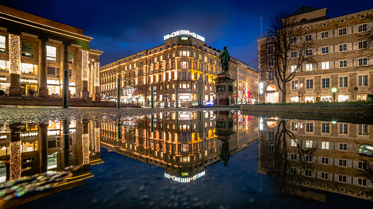 Desktop Wallpapers Germany Town square Stuttgart Puddle reflected Night Houses Cities Reflection night time Building