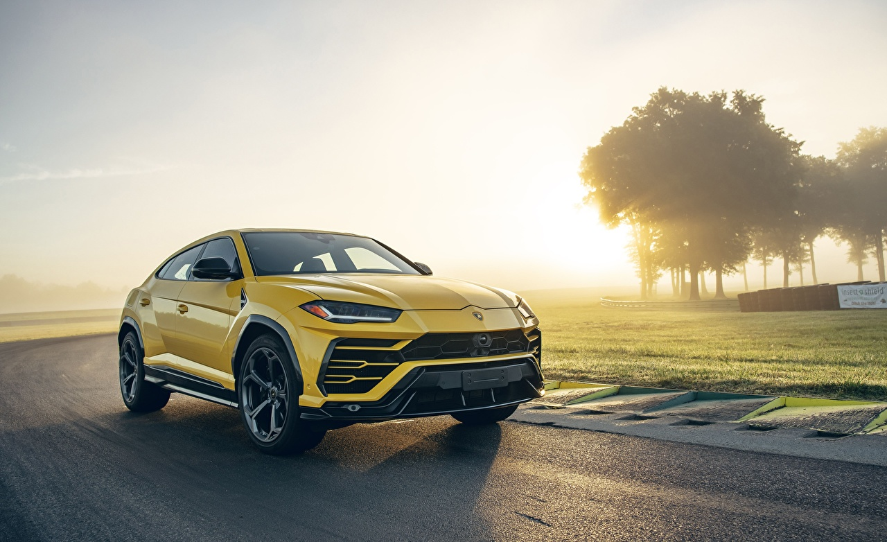 Pictures Lamborghini CUV Urus 2019 Yellow Cars Crossover auto automobile