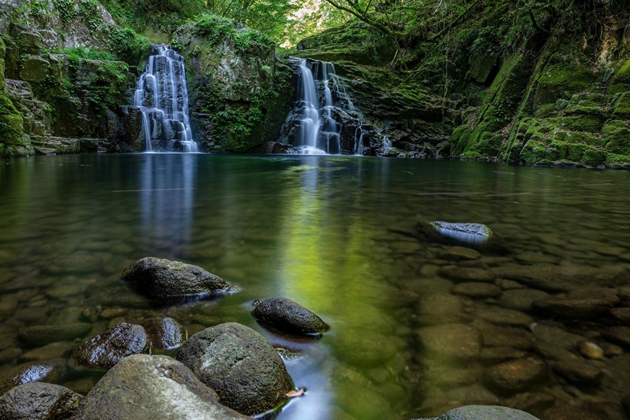 Wallpaper brook Nature Waterfalls Moss stone Creek Stream Creeks Streams Stones