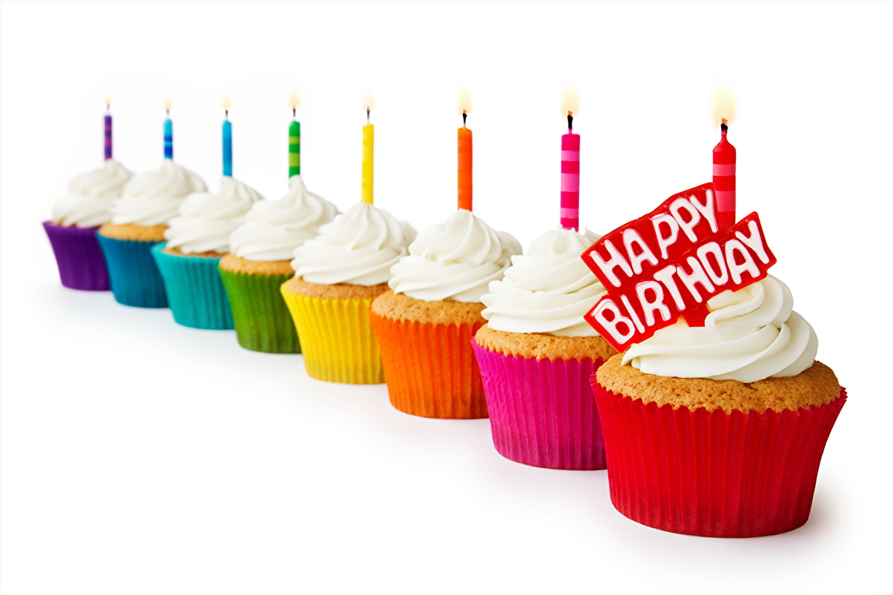 Photo Birthday Food Candles Pastry Holidays Little cakes baking