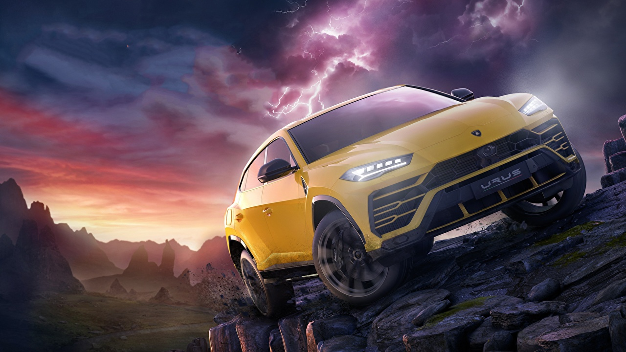 Photos Cars Lamborghini Urus Forza Horizon 4 Yellow auto automobile