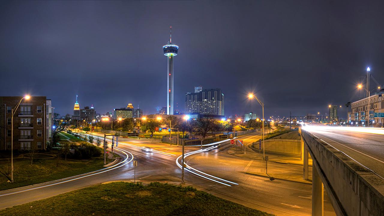 Fotos Texas Vereinigte Staaten San Antonio Wege Stadtstraße Nacht Straßenlaterne Städte Gebäude USA Straße Straße Haus
