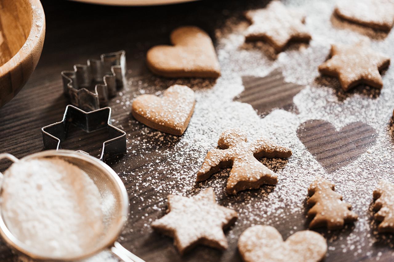 Bilder von kleine Sterne Herz Fichten Puderzucker Engel Kekse Lebensmittel Stern-Dekoration Engeln das Essen