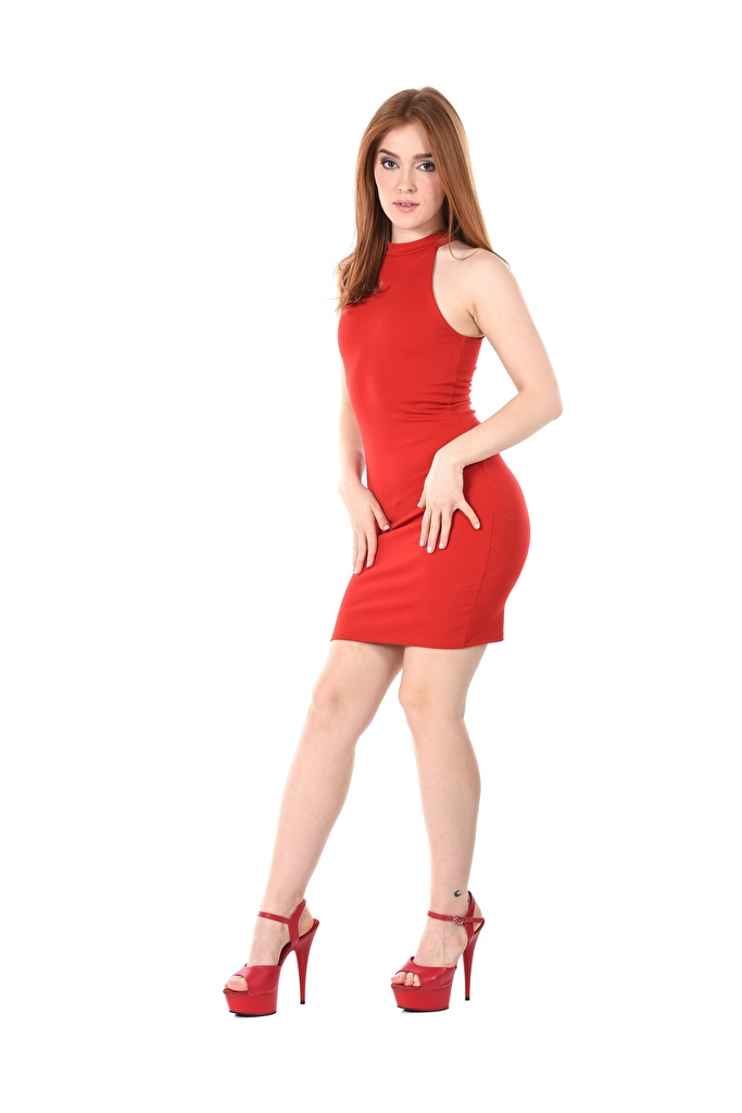 Wallpaper Jia Lissa Brown haired iStripper posing female Legs Hands White background Dress Stilettos  for Mobile phone Pose Girls young woman gown frock high heels