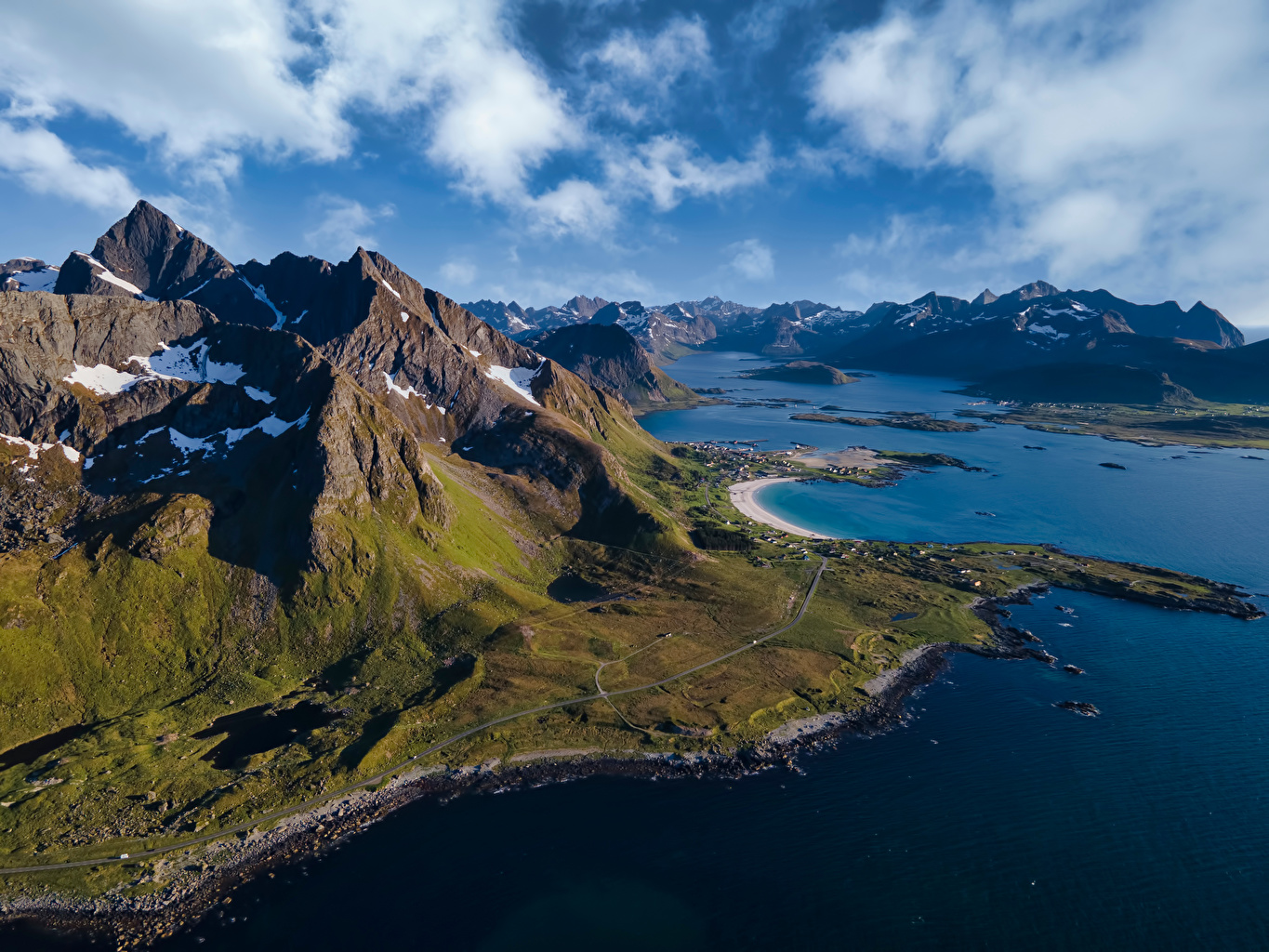 Picture Lofoten Norway Nature Mountains Clouds mountain