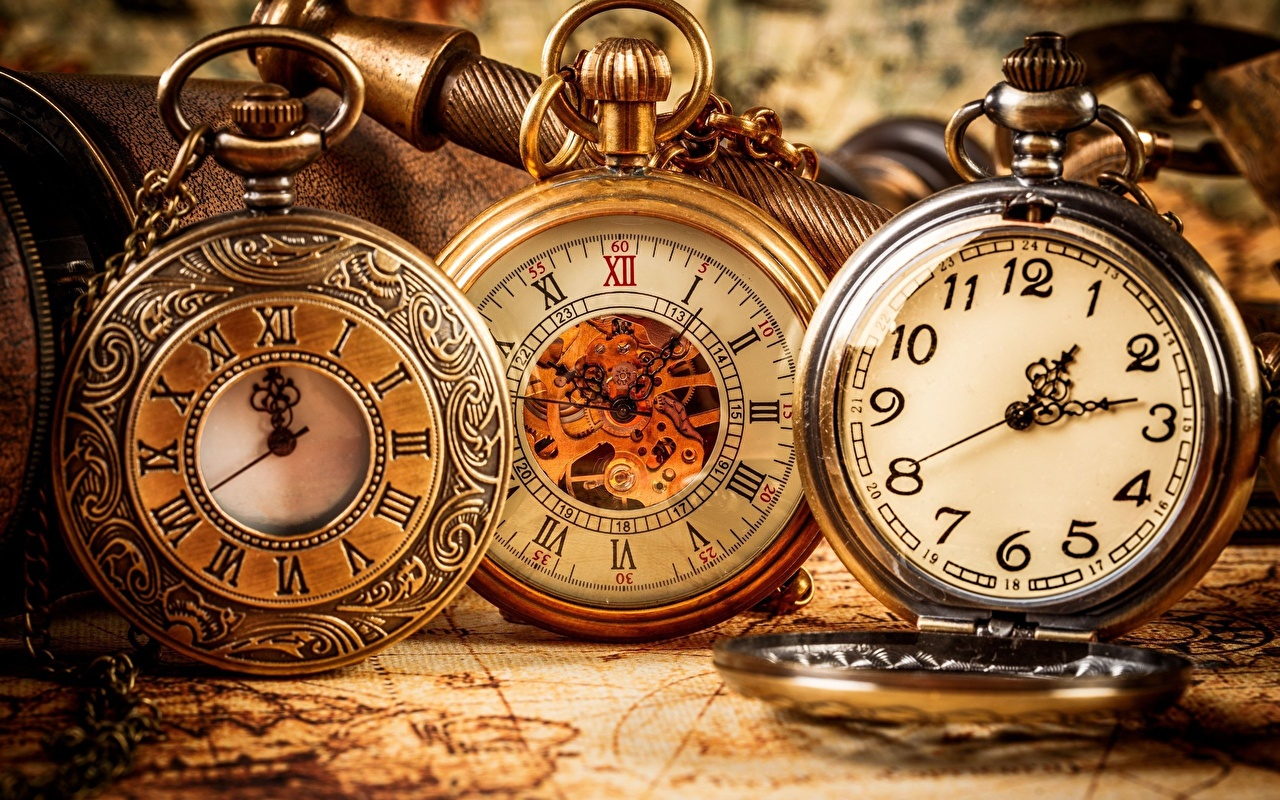 Desktop Wallpapers Pocket watch Clock Closeup