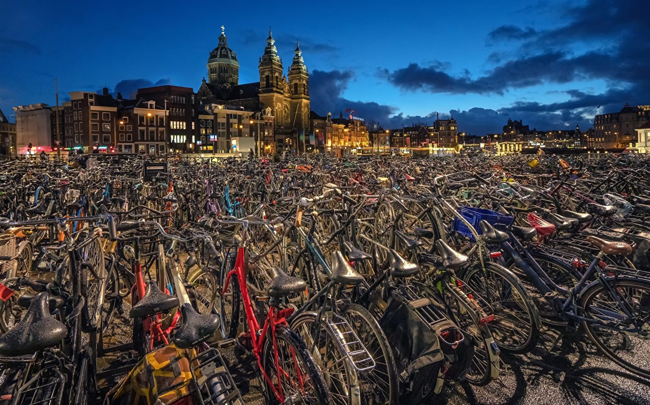 Images Amsterdam Netherlands North Holland bicycles HDR Cities bike Bicycle HDRI