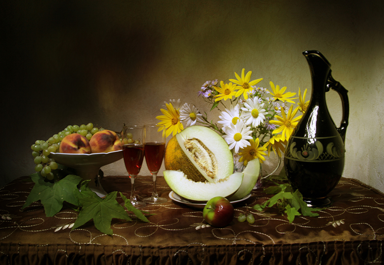 Wallpaper Bouquets Two Wine Apples Melons Grapes Peaches Jug container Food Stemware Still-life 2 Pitcher