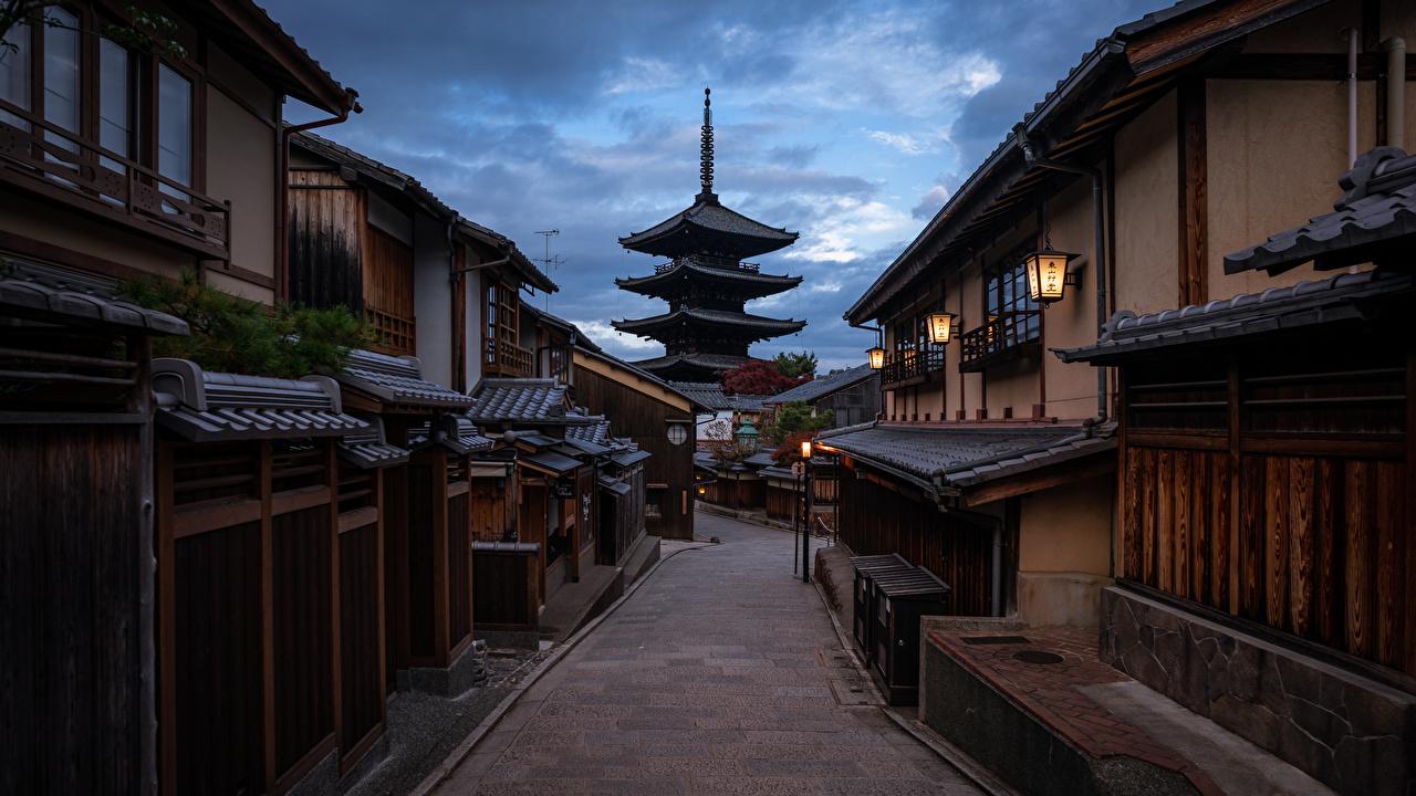 壁紙 寺院 パゴダ 京都市 日本 夕 ストリート 都市