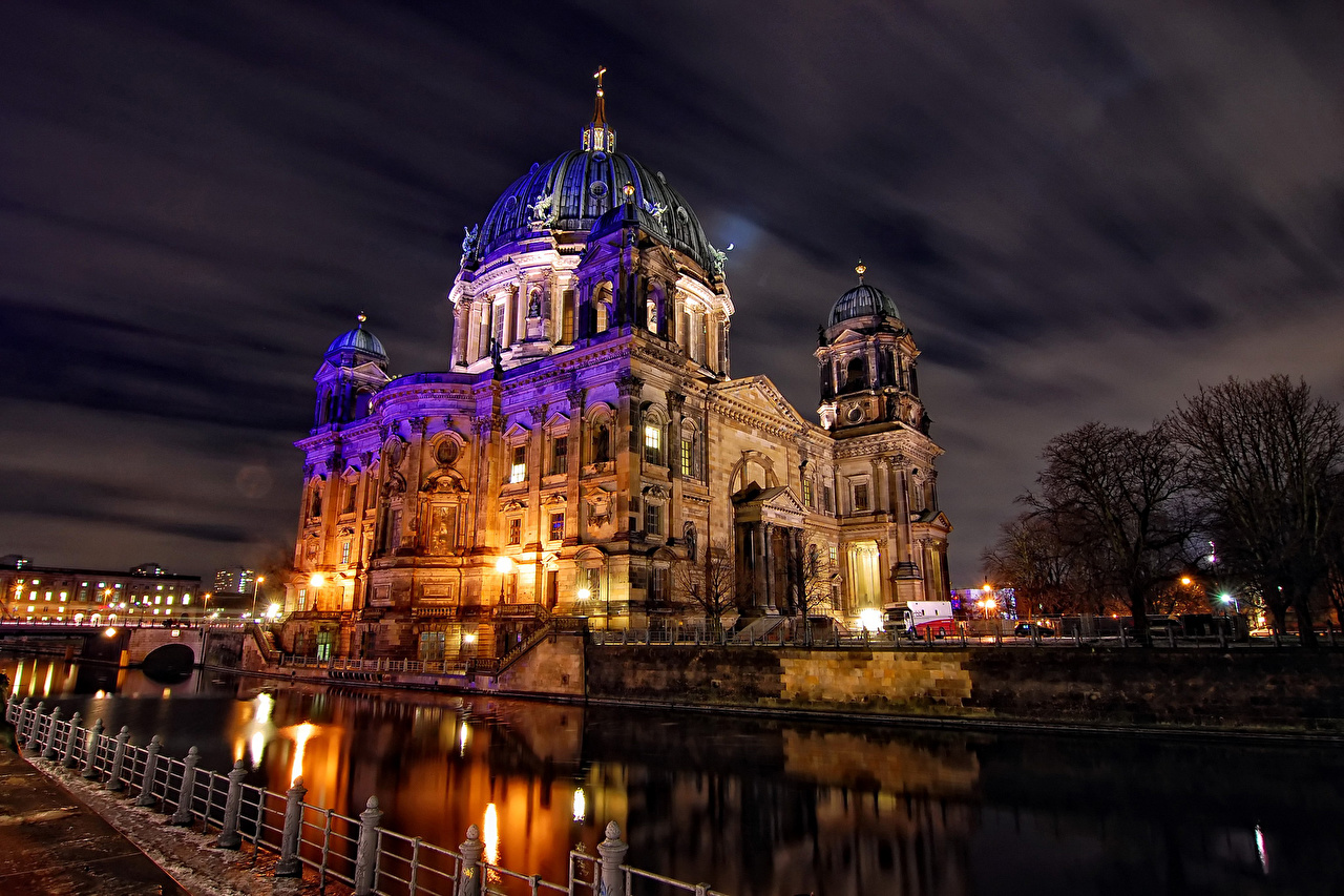 Pictures Berlin Germany Night Rivers Cities river night time