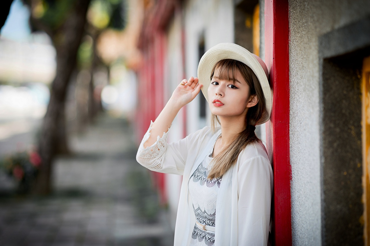 Wallpaper Brown haired blurred background Hat Girls Asian Hands Glance Bokeh female young woman Asiatic Staring