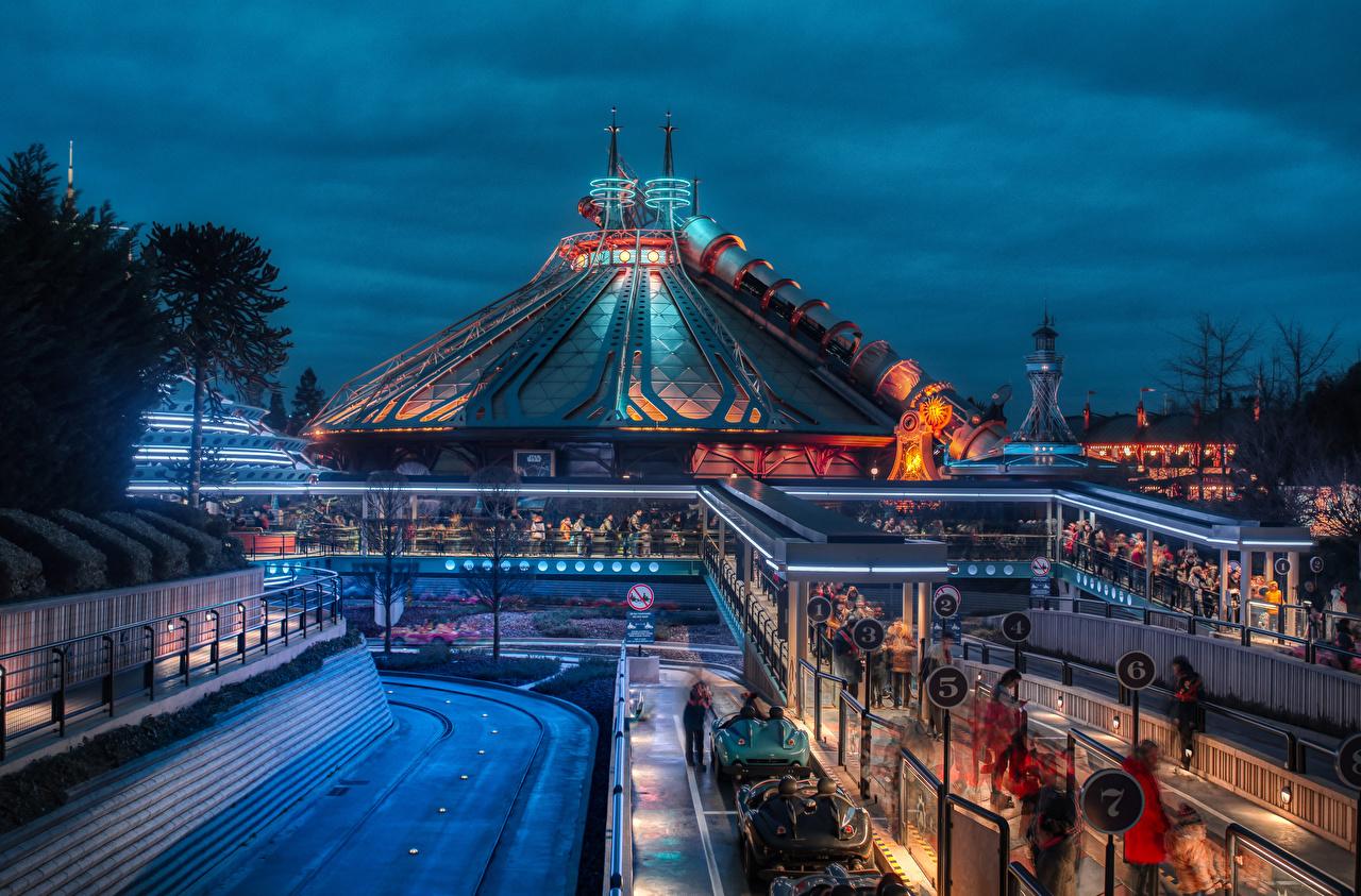 Bakgrunnsbilder Paris Frankrike Disney Parks Natur Park Kveld Design
