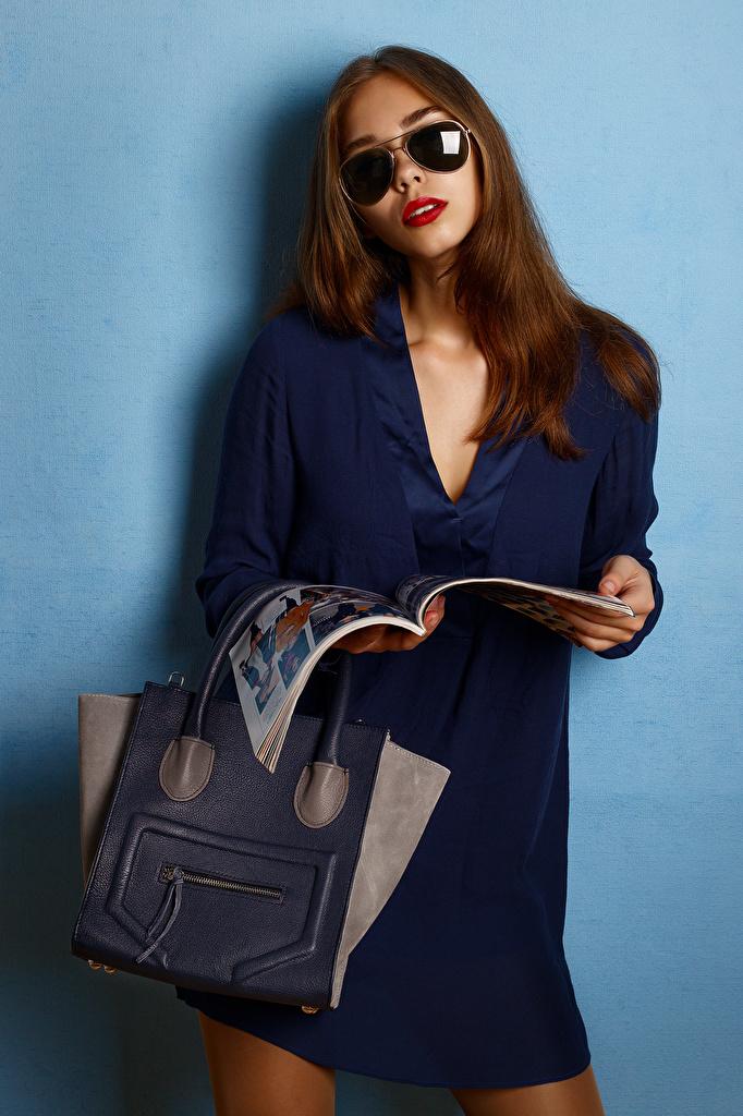 Wallpaper Viacheslav Krivonos Lena Pose female Magazine purse Glasses Glance frock  for Mobile phone posing Girls young woman Handbag eyeglasses Staring gown Dress