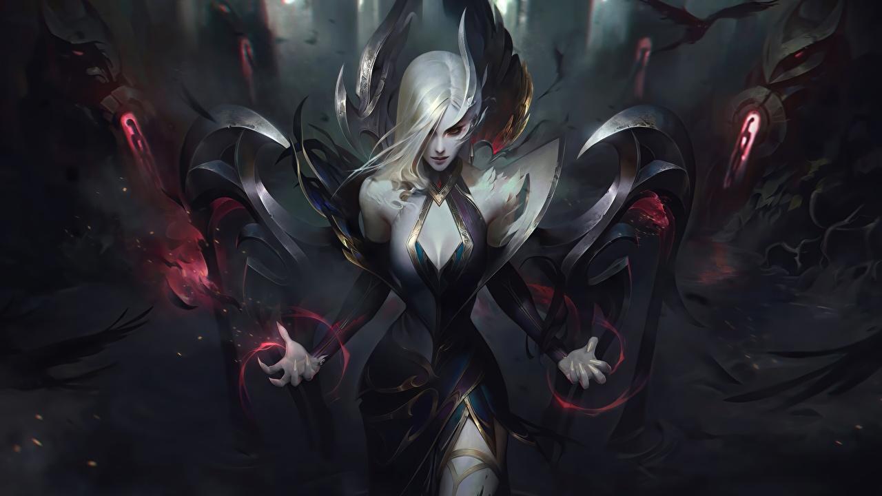 Bakgrunnsbilder League of Legends Blond jente Fan ART Morgana Fantasy ung kvinne Dataspill Blonde fan kunst Unge kvinner videospill