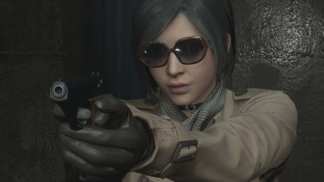 Photos Resident Evil 2 2019 pistol Ada Wong female 3D Graphics Games Hands Glasses Pistols Girls young woman vdeo game eyeglasses