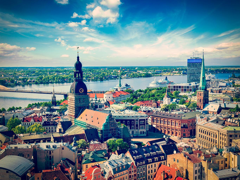 Bilder von Lettland Riga Himmel Flusse Städte Gebäude Fluss Haus
