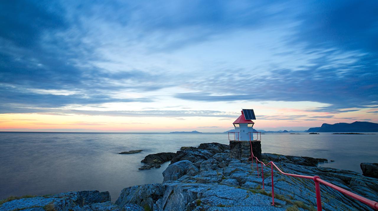 Bilder Norwegen Natur Felsen Leuchtturm Abend Küste