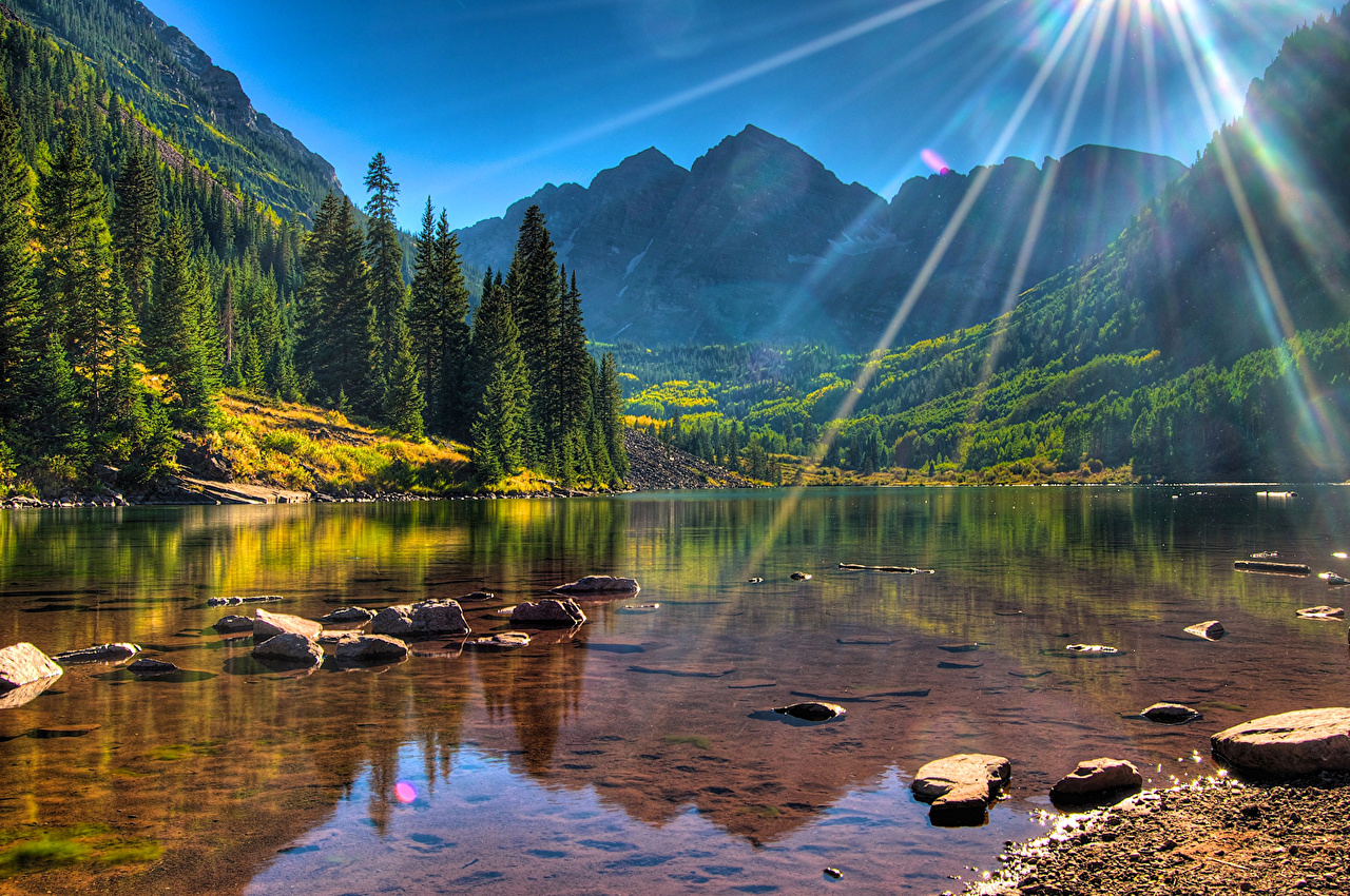 Wallpaper Rays of light USA Maroon Bells Colorado Nature Mountains Lake Scenery Forests Stones mountain forest landscape photography stone