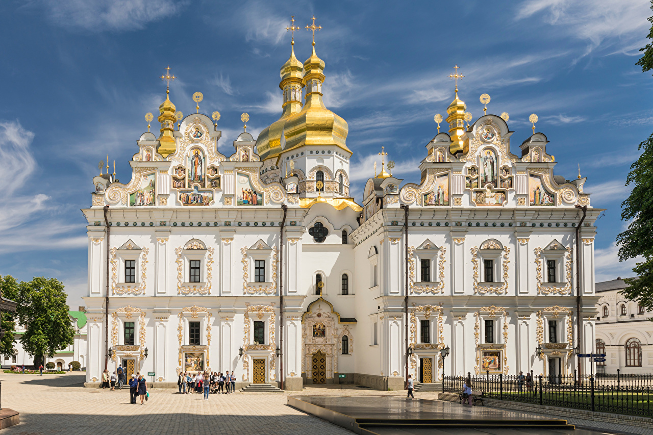 Photos Kiev Ukraine Holy Dormition Cathedral domes Cities Dome