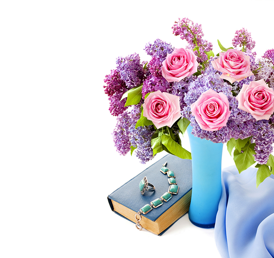 Pictures bouquet Roses Syringa Flowers Vase books White background Jewelry Bouquets rose Lilac flower Book
