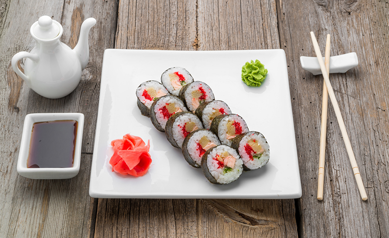 Wallpaper soya sauce Sushi Food Plate Chopsticks Seafoods boards Soy sauce Wood planks