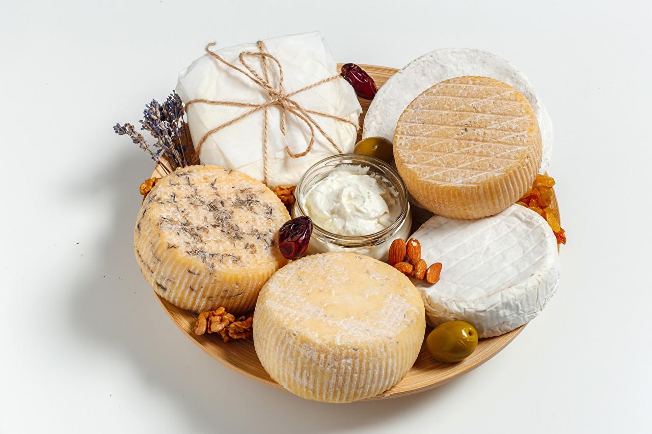 Foto Die Sahne Käse Lebensmittel Weißer hintergrund